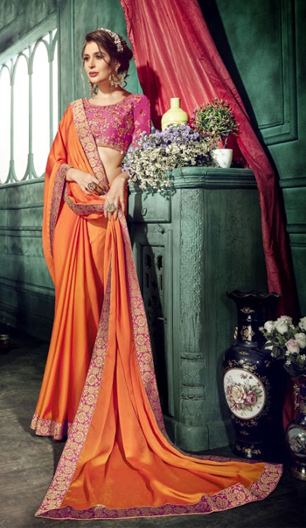 Alluring Orange Color Chiffon Embroidery Sarees | 356142099