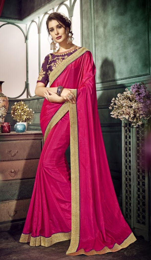 Chic Pink Color Chiffon Embroidery Sarees | 356142101
