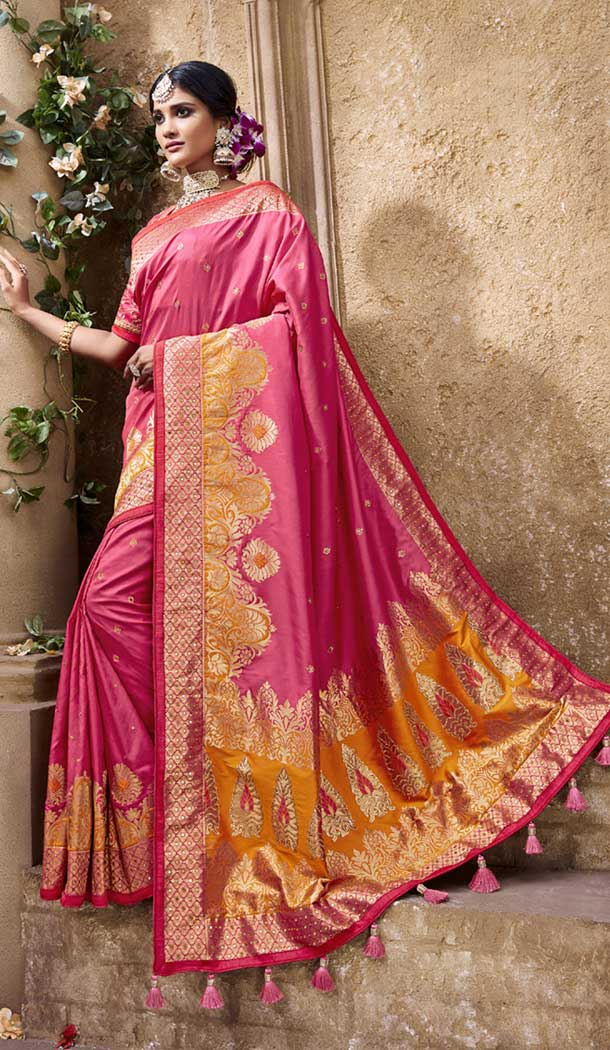 Charming Pink Color Pure Banarasi Silk Designer Saree | 358142416