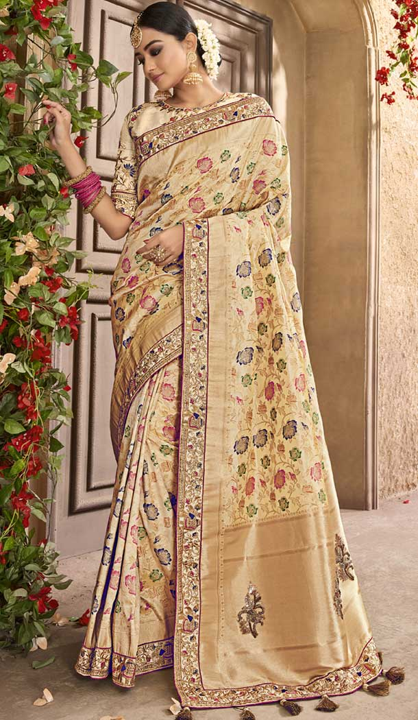 Ethnic Beige Color Pure Banarasi Silk Designer Saree | 358142417