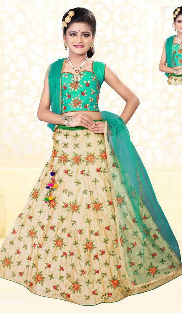 Beige Color Silk Kids Girl Elsa Ghagra Choli | 362042965