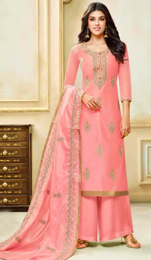 Peach Color Model Silk Embroidery Palazzo Suit | 361340908