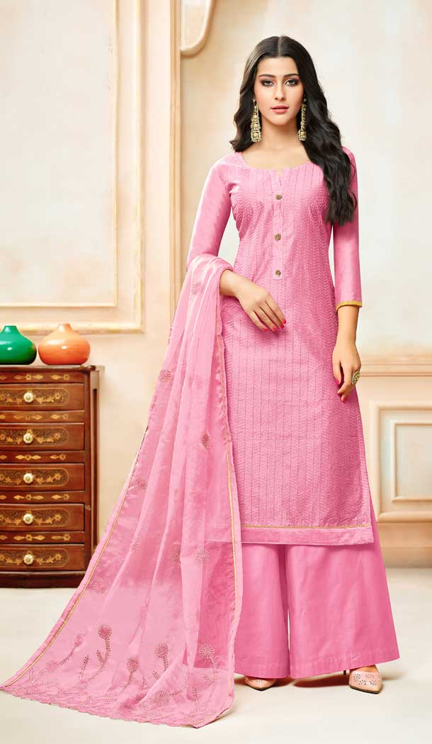 Pink Color Model Silk Embroidery Palazzo Suit | 361340915