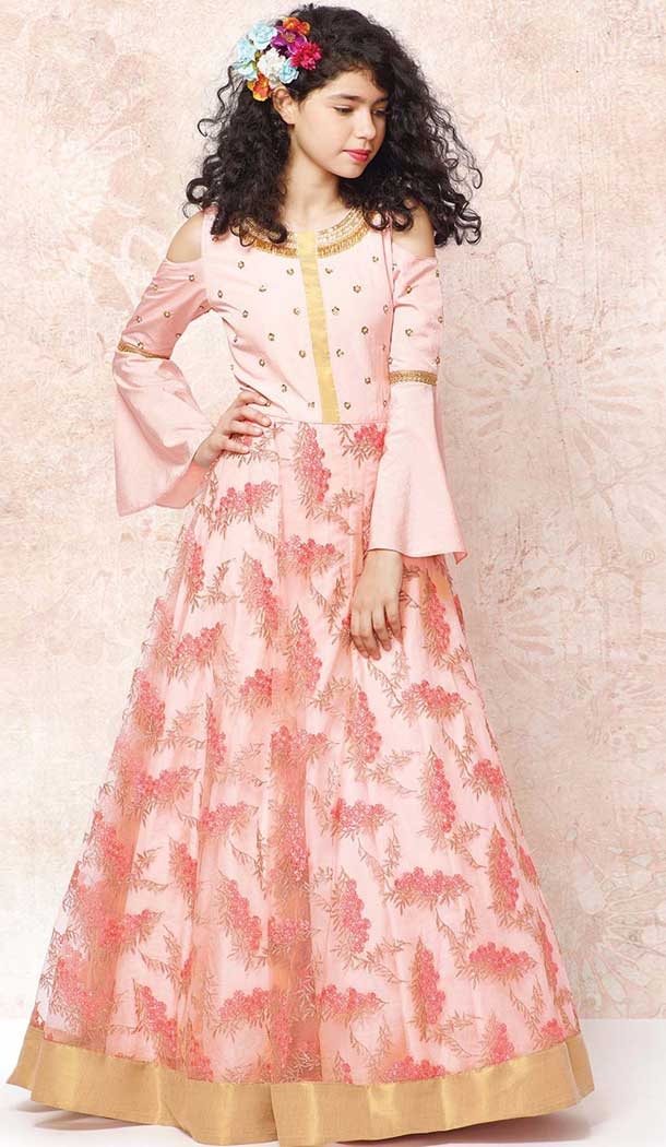 Light Pink Color Net Indo Western Style Girls Gown Dress | 366143500