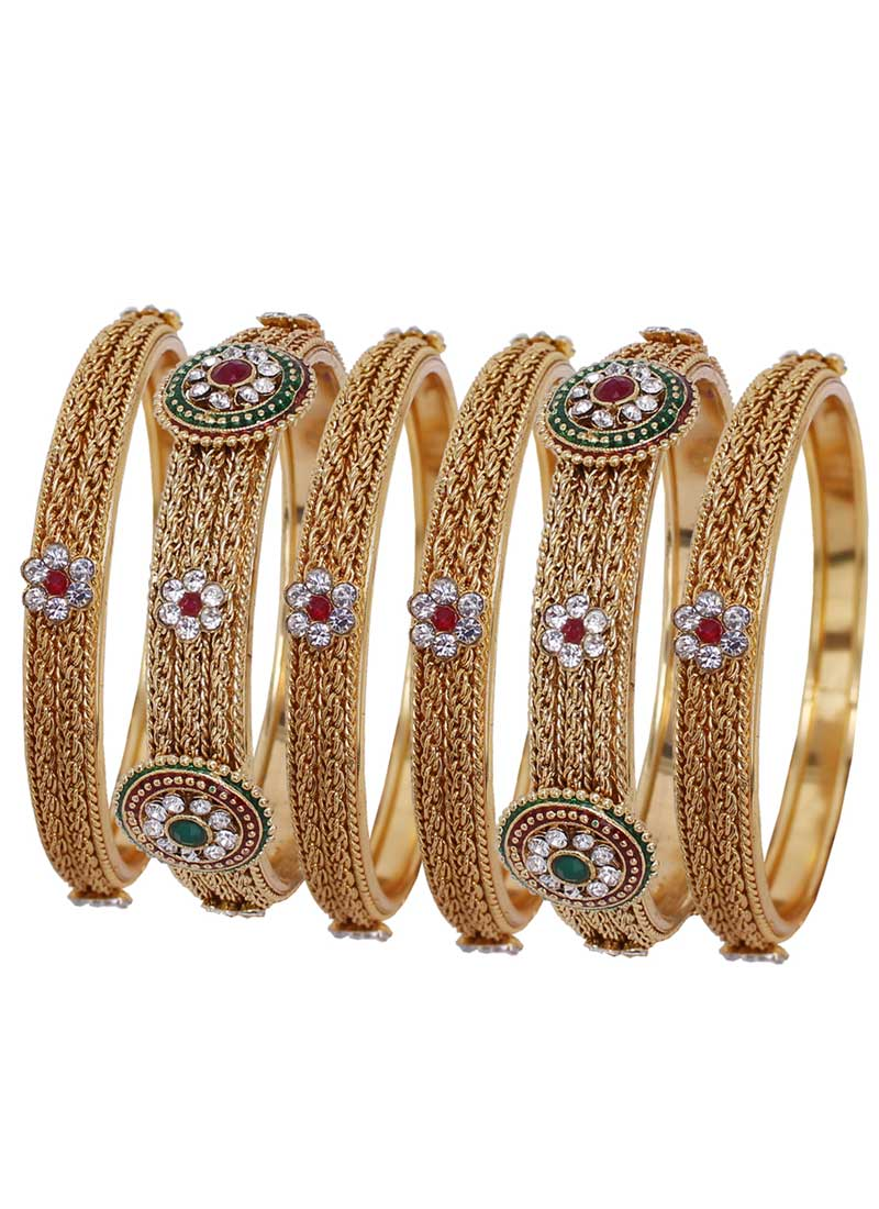 Aesthetic Gold Color Alloy Gold Plated Kada Style Bangles | 367343670