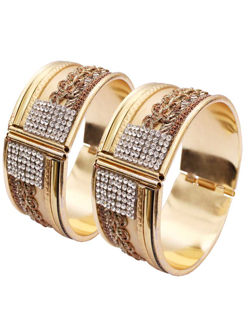 Attractive Gold Color Alloy Gold Plated Kada Style Bangles | 367343671