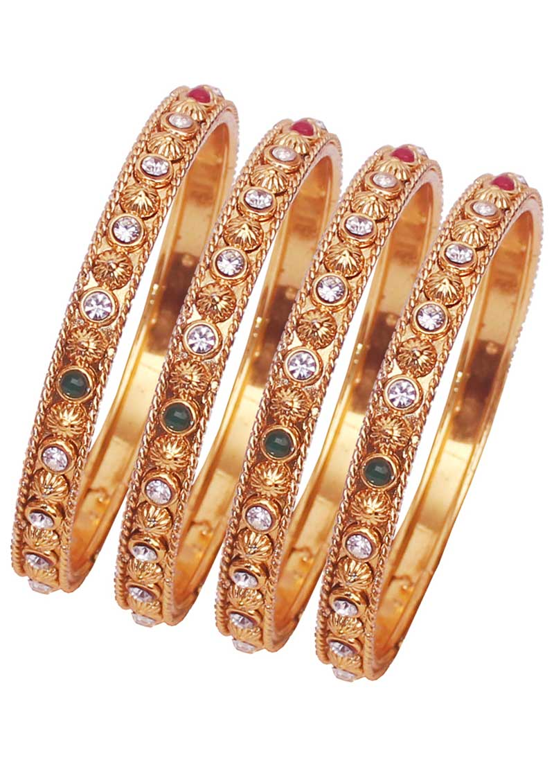 Adorable Gold Color Alloy Gold Plated Kada Style Bangles | 367343678