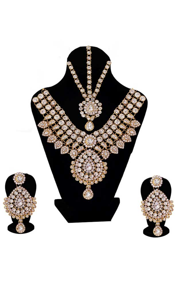 Perfect Fashion Golden & Silver Color Dulhan Necklace | 368043926