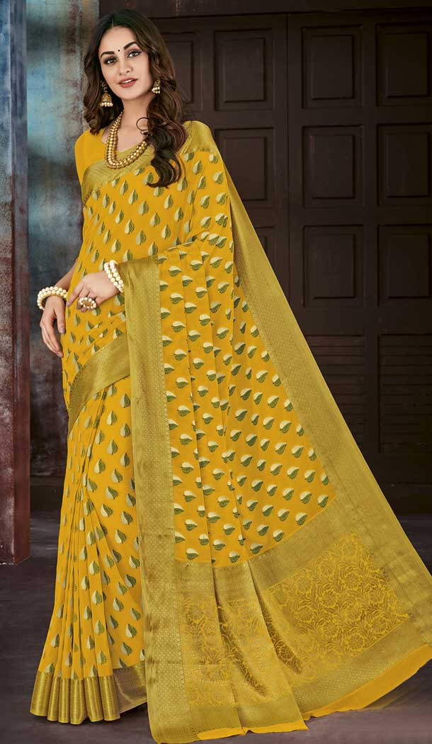 Ethnic Yellow Color Chiffon Jaquard Party Wear Saree | 374244681