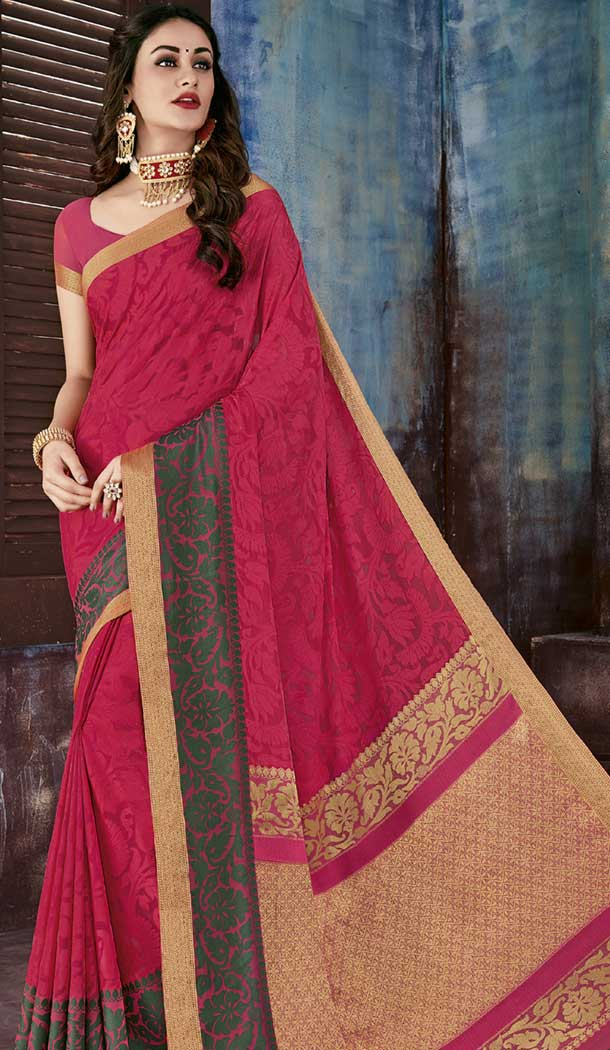 Attractive Pink Color Chiffon Jaquard Party Wear Saree | 374244687