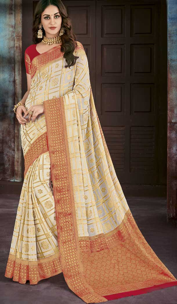 Beige Color Chiffon Jaquard Party Wear Saree | 374244689