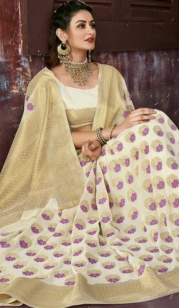 Beige Color Chiffon Jaquard Party Wear Saree | 374244691
