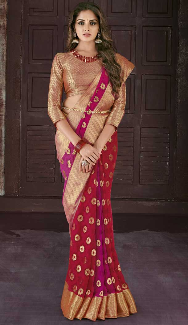 Red Color Chiffon Jaquard Party Wear Saree | 374244692