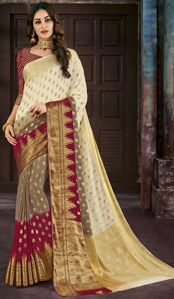 Multi Color Chiffon Jaquard Party Wear Saree | 374244694