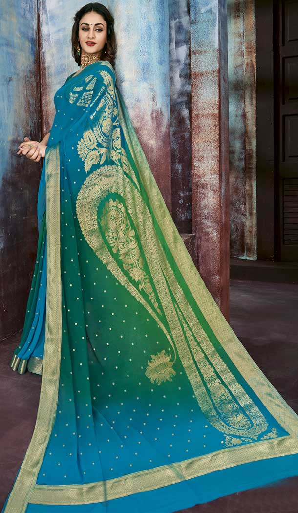 Multi Color Chiffon Jaquard Party Wear Saree | 374244697