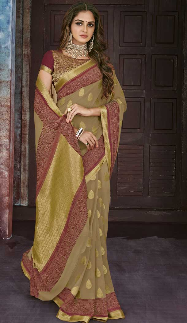 Gold Color Chiffon Jaquard Party Wear Saree | 374244700