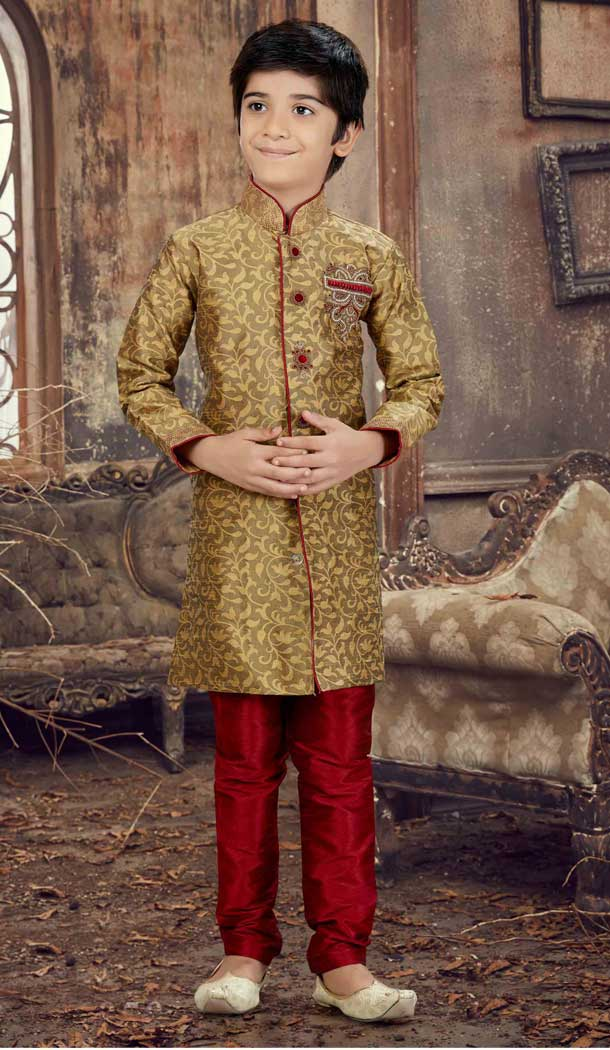 Antique Color Jaquard Readymade Boy Kurta Pajama | 369744143