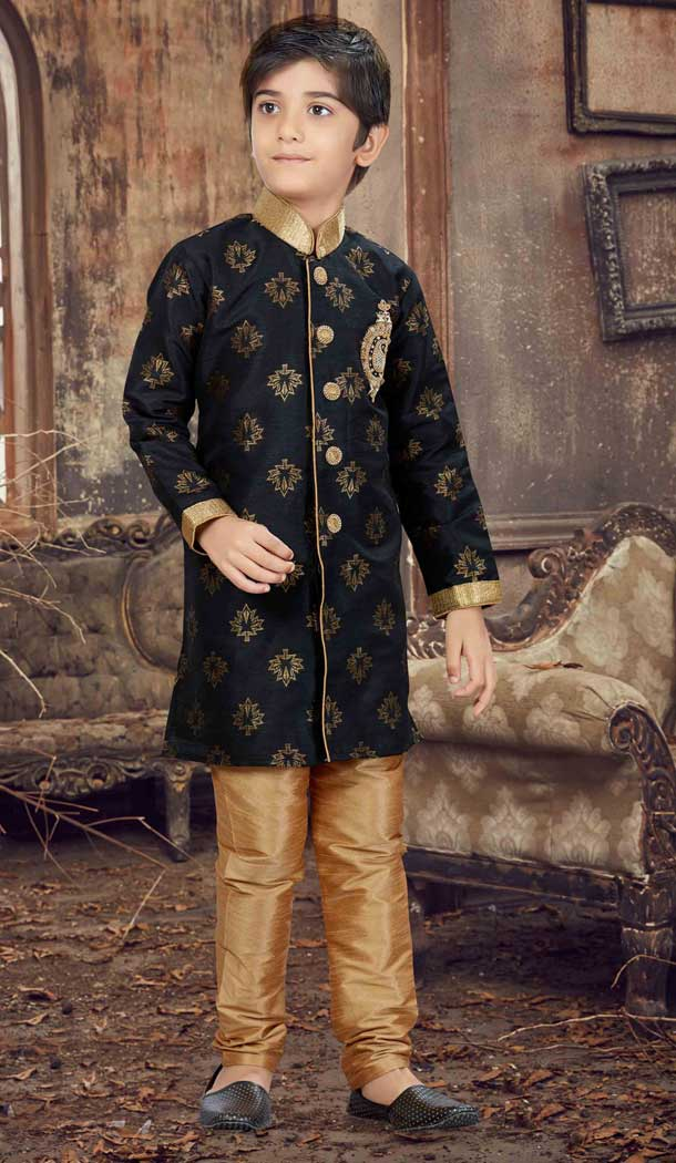 Black Color Printed Art Silk Readymade Boy Kurta Pajama | 369744147