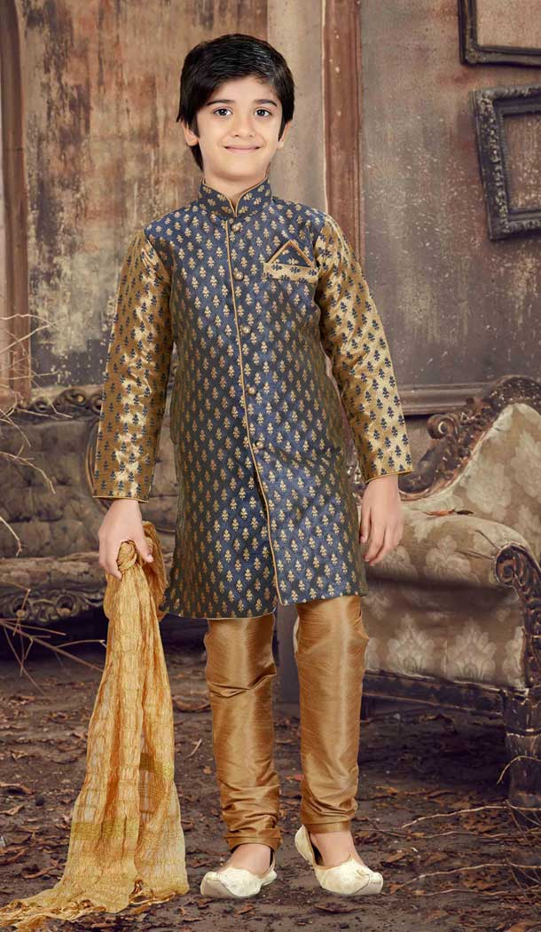 Antique Color Jacquard Readymade Boy Kurta Pajama | 369744161