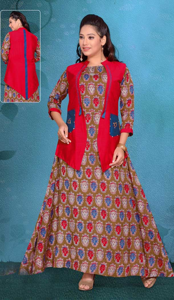 Aesthetic Brown Color Chanderi Pakistani Style Readymade Kurtis | 374444745