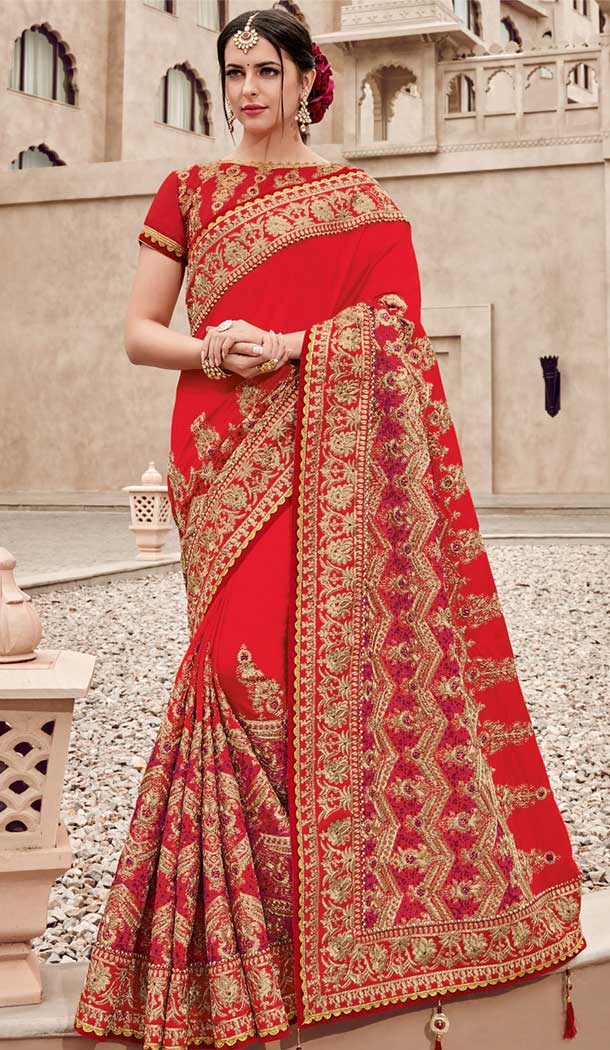 Red and Gold Silk Satin Heavy Embroidery Bridel Saree | 374844798