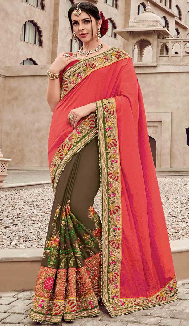 Orange and Brown Silk Satin Heavy Embroidery Bridal Saree | 374844804