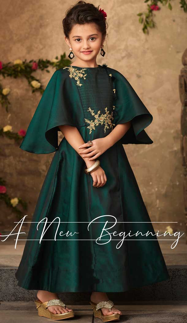 Pine Green Color Satin Silk Party Wear Readymade Girls Gown | 57446655
