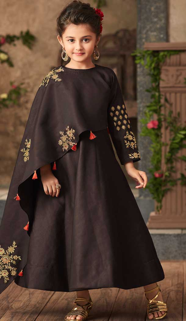 Dark Brown Color Satin Silk Party Wear Readymade Girls Gown | 57446659