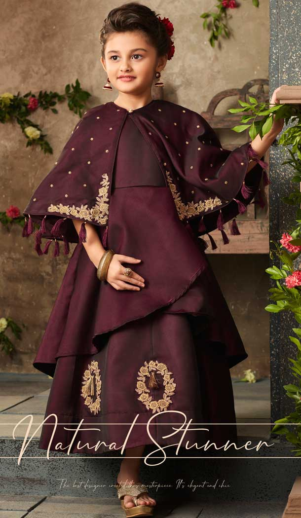 Wine Color Satin Silk Party Wear Readymade Girls Gown | 57446663