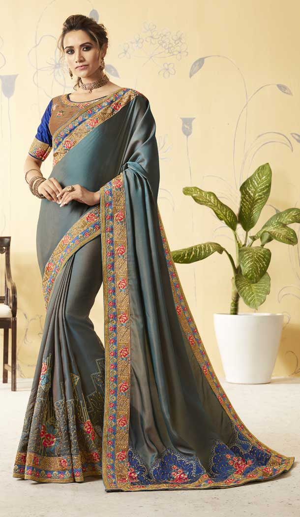Grey Color Barfi Silk Treditional Lehenga Saree | 376044901