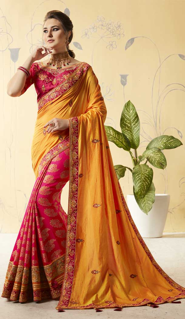 Orange Color Silk Treditional Lehenga Saree | 376044903