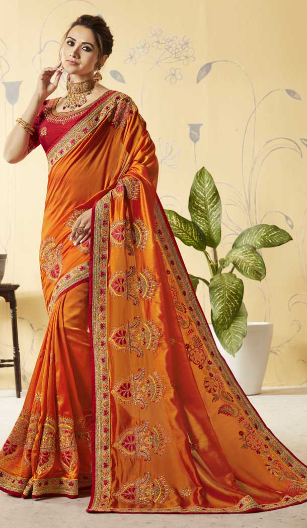 Orange Color Vichitra Silk Treditional Lehenga Saree | 376044905