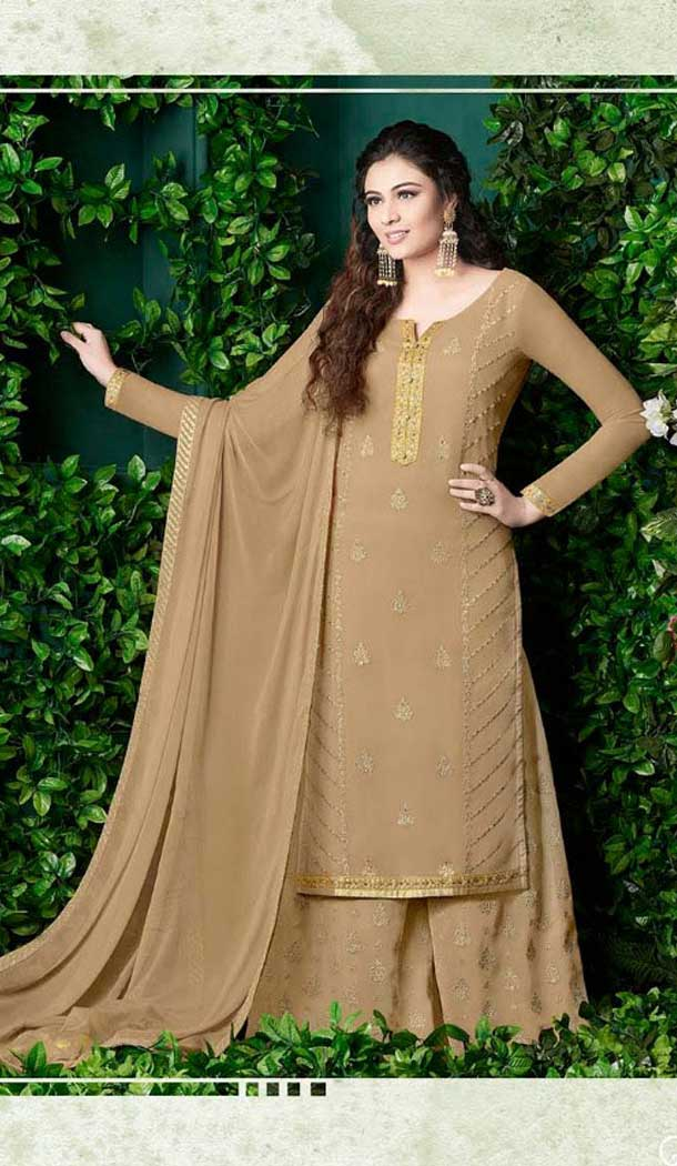Beige Color Georgette Pakistani Style Palazzo Suit | 57346551