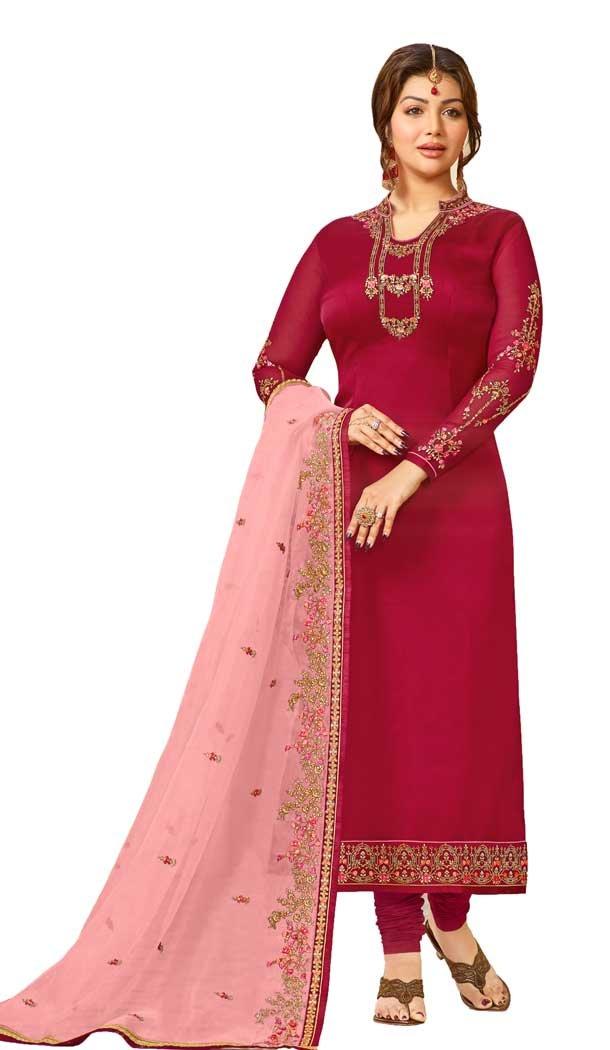 Bollywood Celebrity Ayesha Takia Dark Pink Salwar Kameez | 58077331