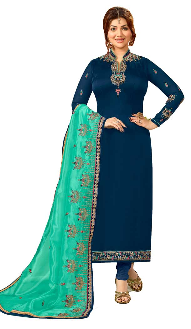 Bollywood Celebrity Ayesha Takia Dark Blue Salwar Kameez | 58077335