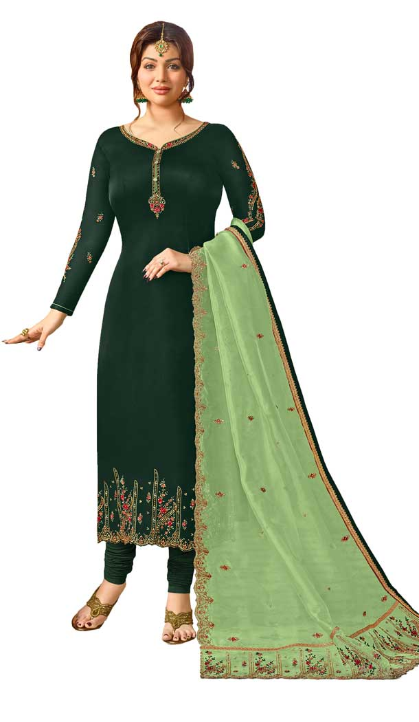 Bollywood Celebrity Ayesha Takia Dark Green Salwar Kameez | 58077338