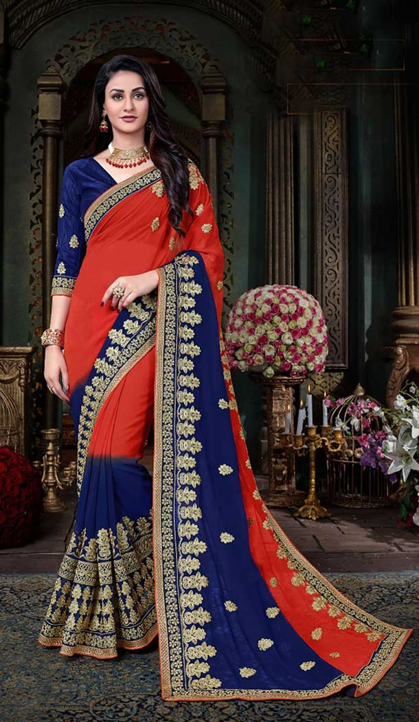 Enigmatic Red & Navy Blue Georgette Treditional Saree | 377345086