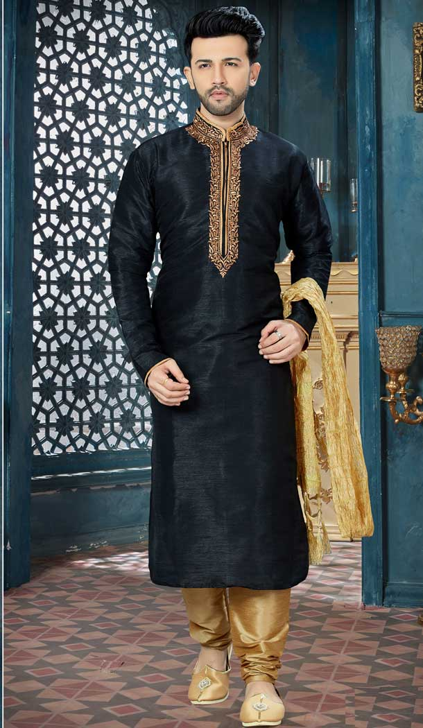 Black Color Art Dupion Readymade Kurta Pajama | Vol3R155