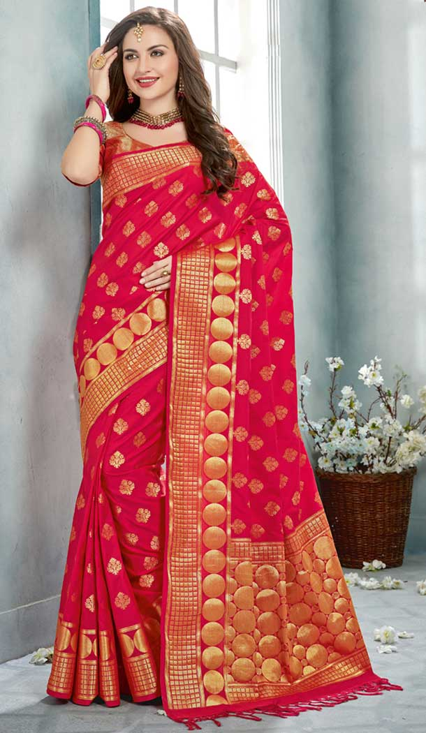 Pink Color Uppada Silk Party Wear Sarees | 377645165