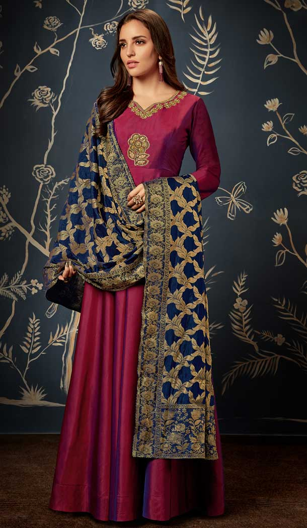 Ethnic Magenta Pink Color Art Silk Party Readymade Gown | 58227493