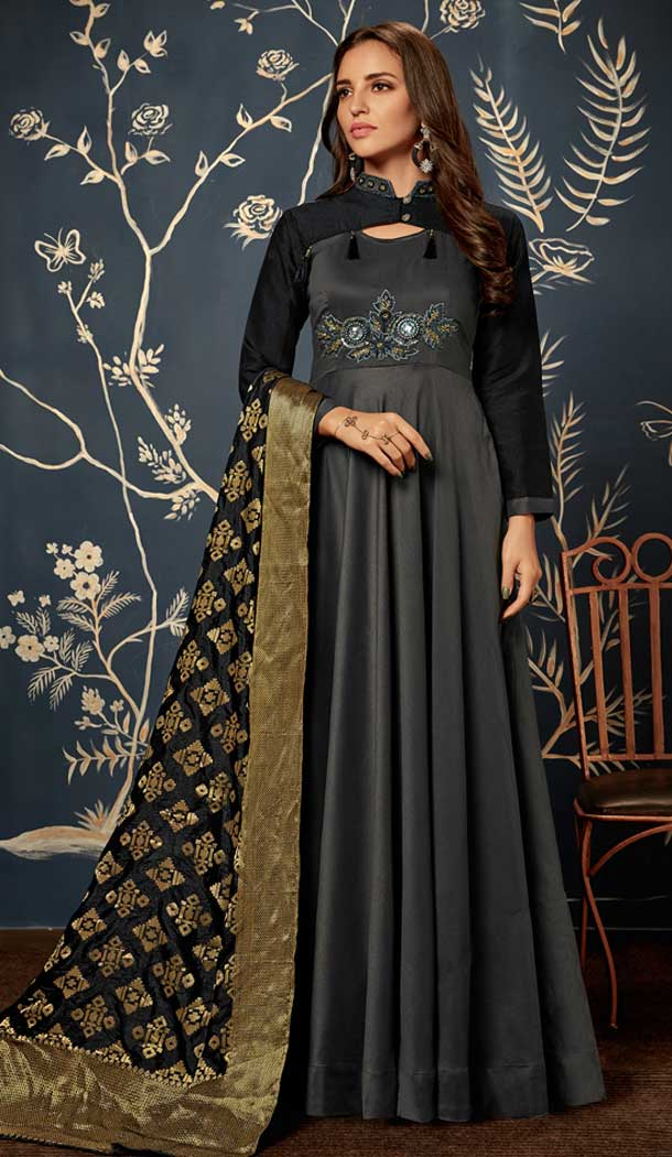 Black Color Art Silk Party Readymade Gown | 58227494