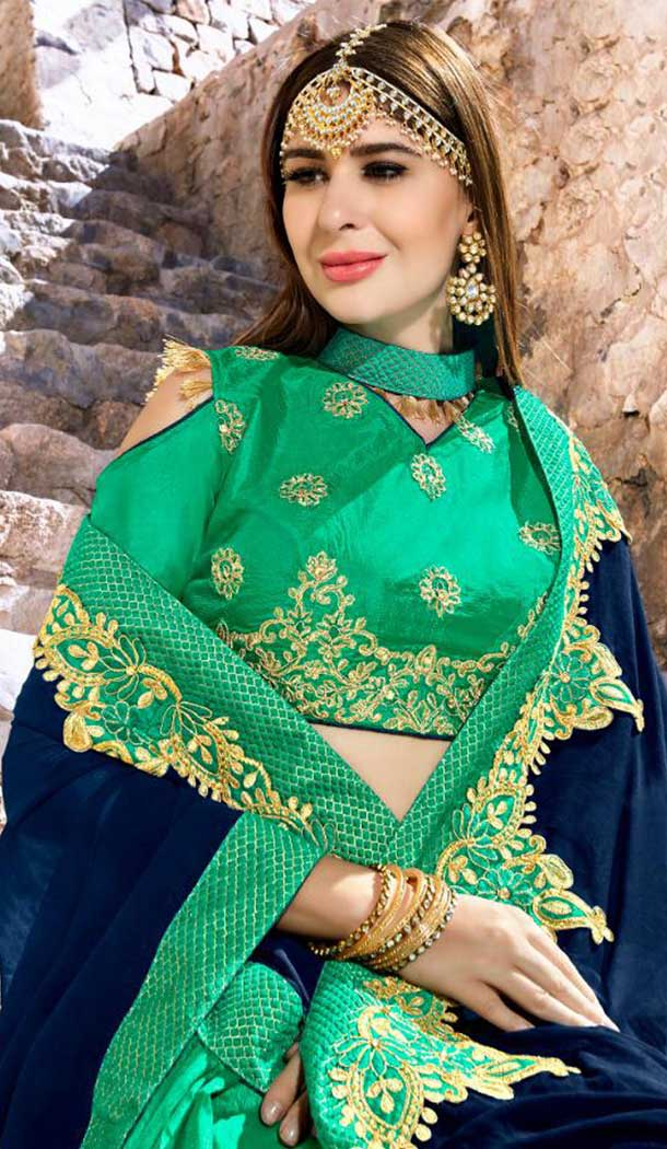 Blue and Green Color Rangoli Treditional Saree | 379145392
