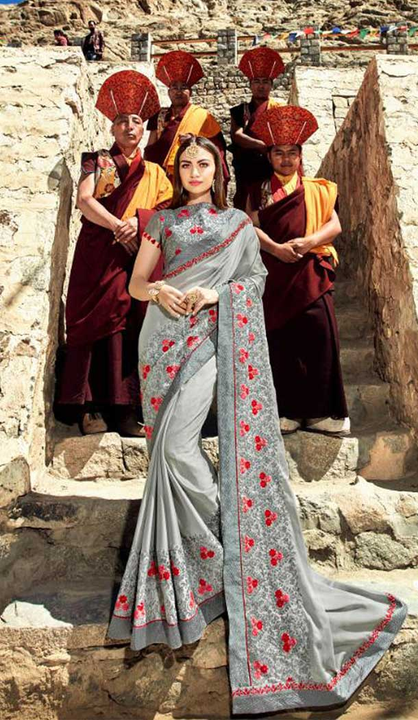 Contemporary Grey Color Rangoli Treditional Saree | 379145393