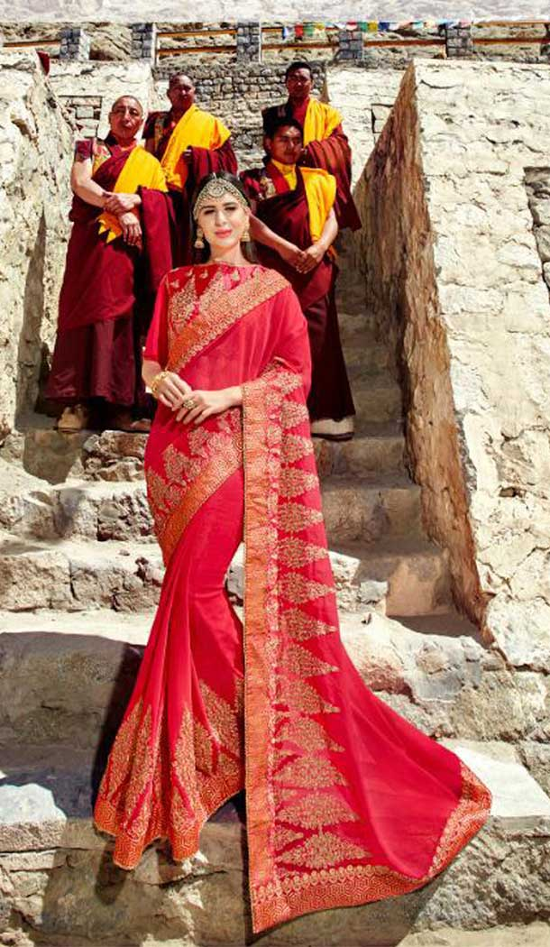 Captivating Red Color Satin Chiffon Treditional Saree | 379145394