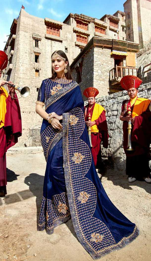 Glamorous Navy Blue Color Sana Silk Treditional Saree | 379145396