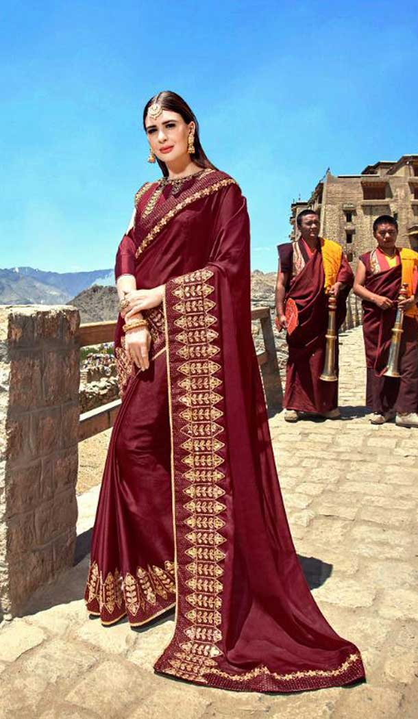 Contemporary Maroon Color Rangoli Treditional Saree | 379145397