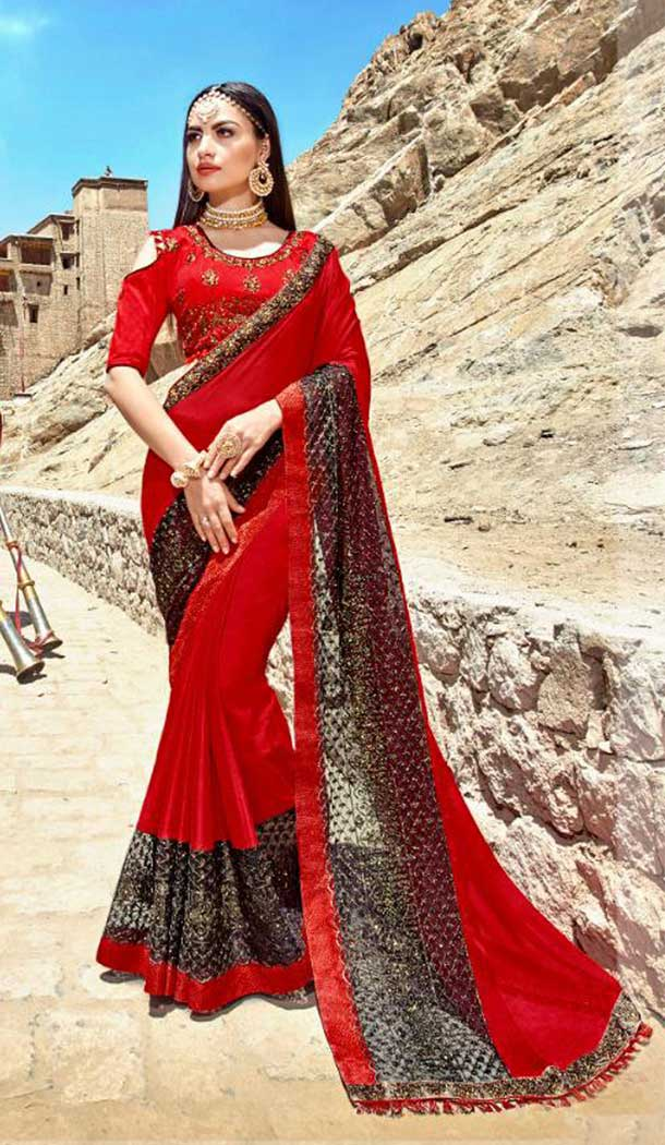 Red Color Rangoli Treditional Saree Blouse | 379145398
