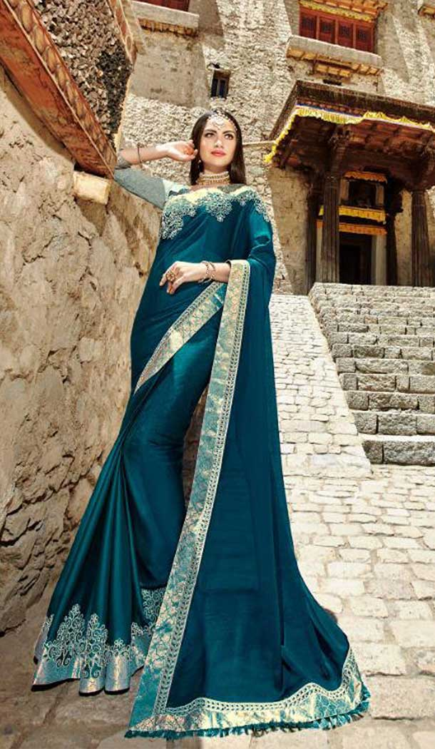 Unique Blue Color Rangoli Treditional Saree Blouse | 379145399
