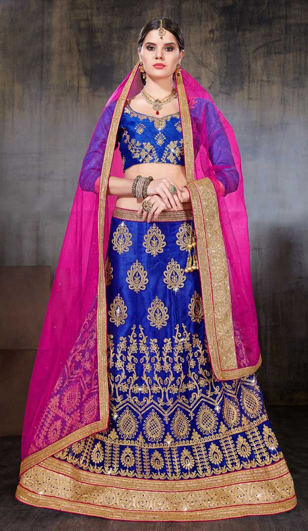 Blue Color Net Party Wear Women Lehenga Choli | 379745455