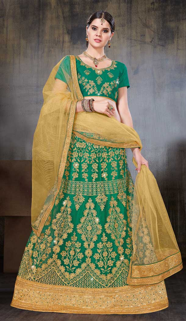 Green Color Net Party Wear Women Lehenga Choli | 379745457